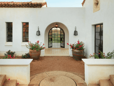 The exterior of a Spanish Colonial home.