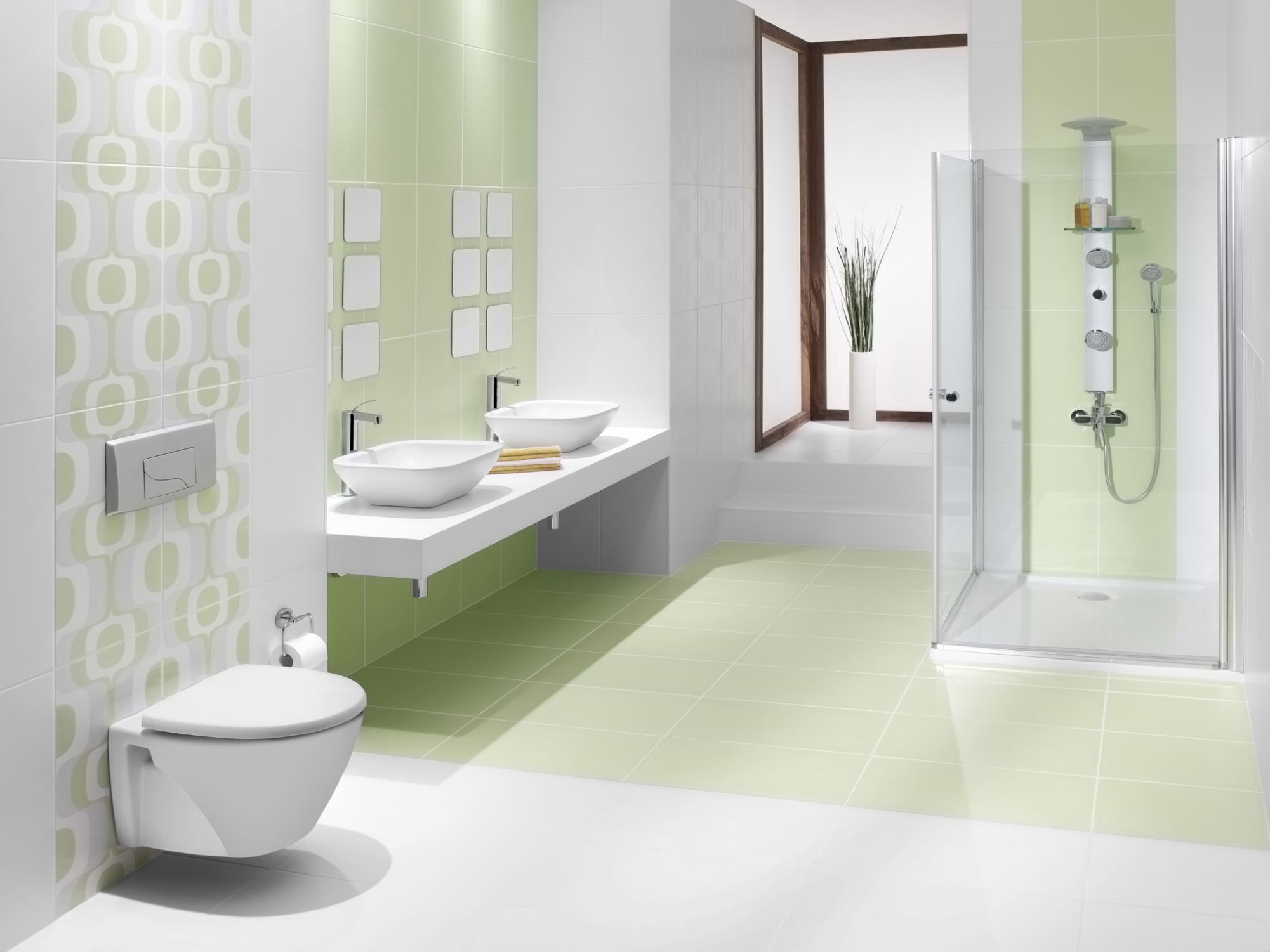 Bring Green Color To Your Bathroom With Tiles