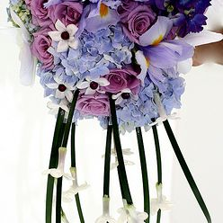 Blue and Purple Cascading Bouquet