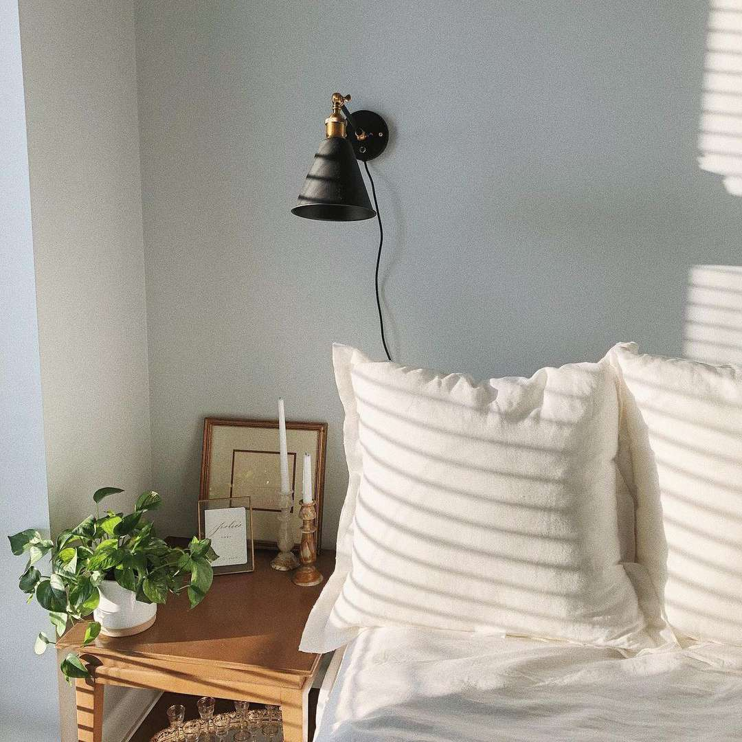 sconce against white wall