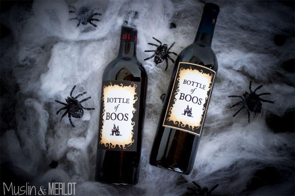 Two bottles of Halloween wine