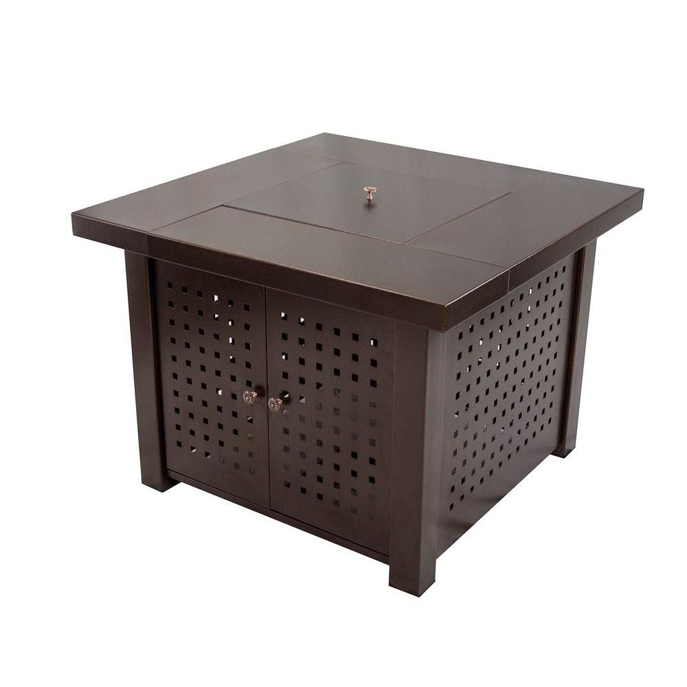 Pleasant Hearth Eden 38 in. Perforated Square Steel Gas Fire Pit Table in Hammered Bronze