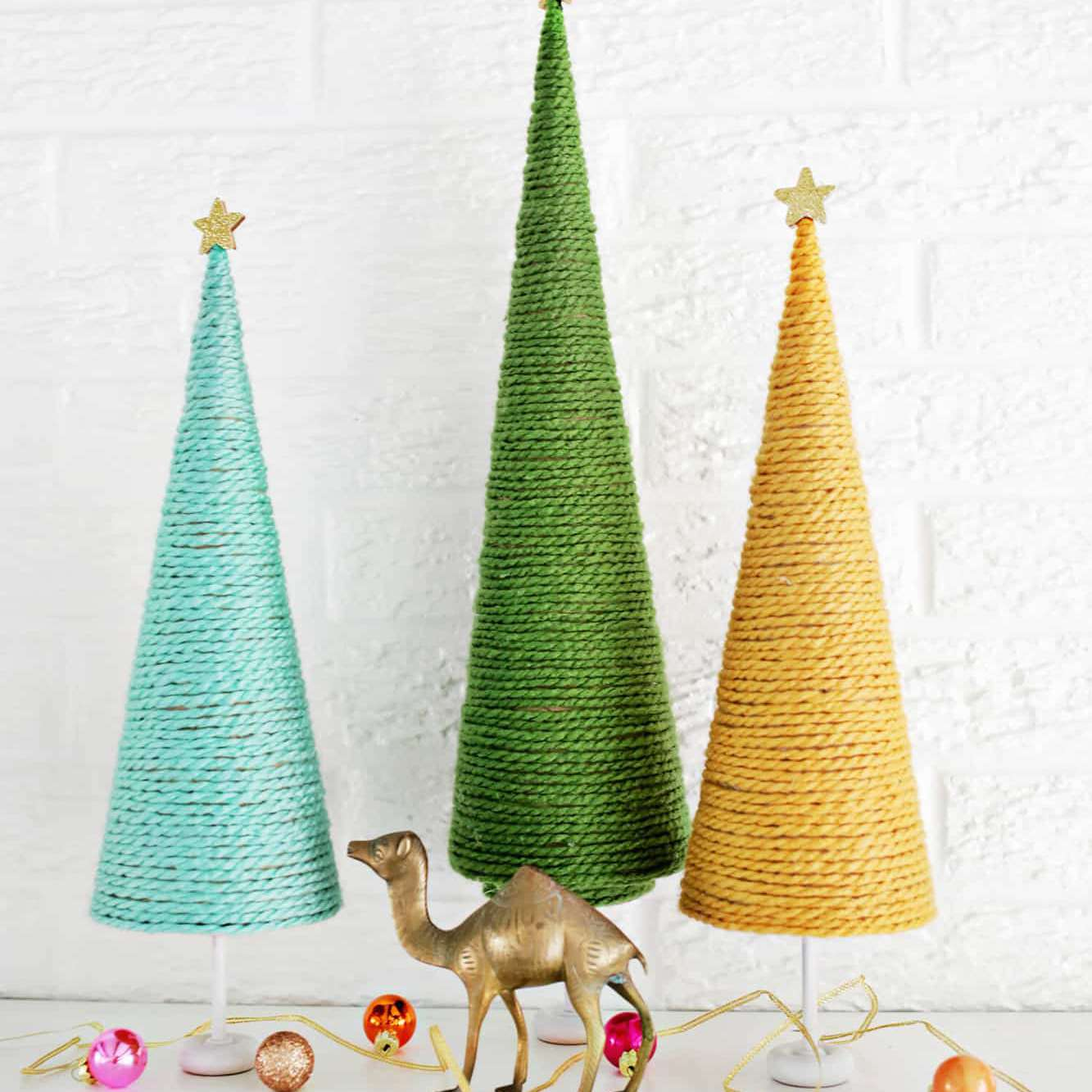 Yarn Christmas tree DIY