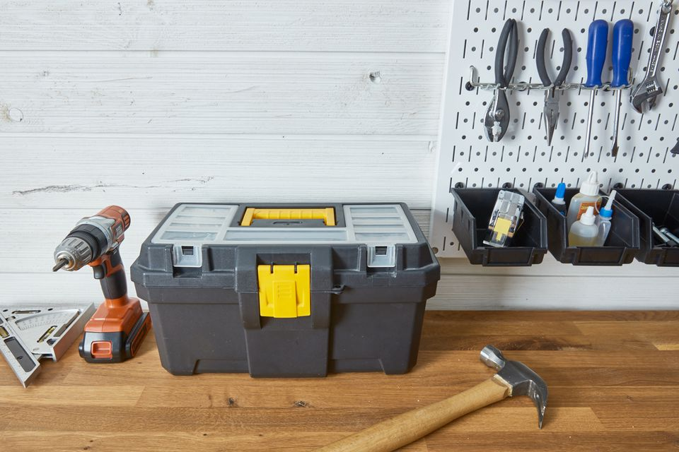 tool box and peg wall