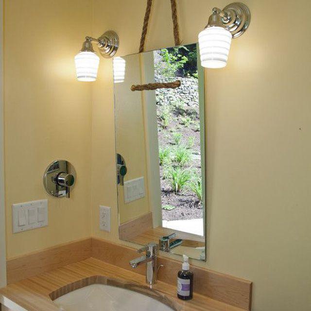 Bathroom with DIY mirror
