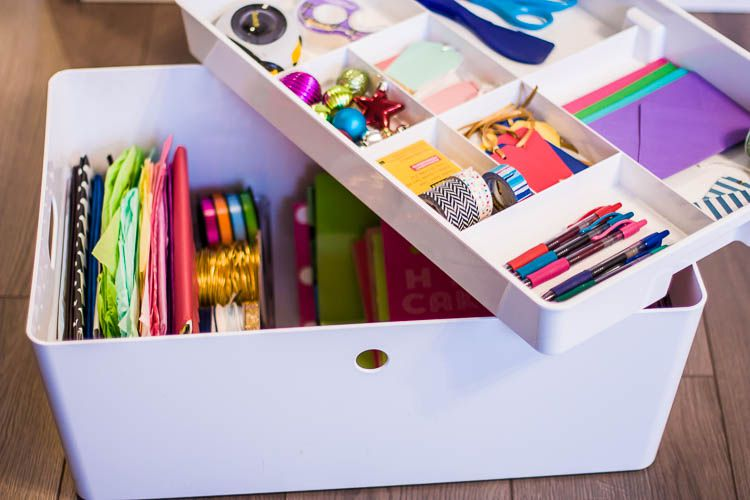 a wrapping paper caddy for organization