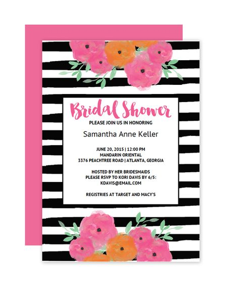 a black and white striped bridal shower invitation with pink and orange flowers - Free Bridal Shower Templates