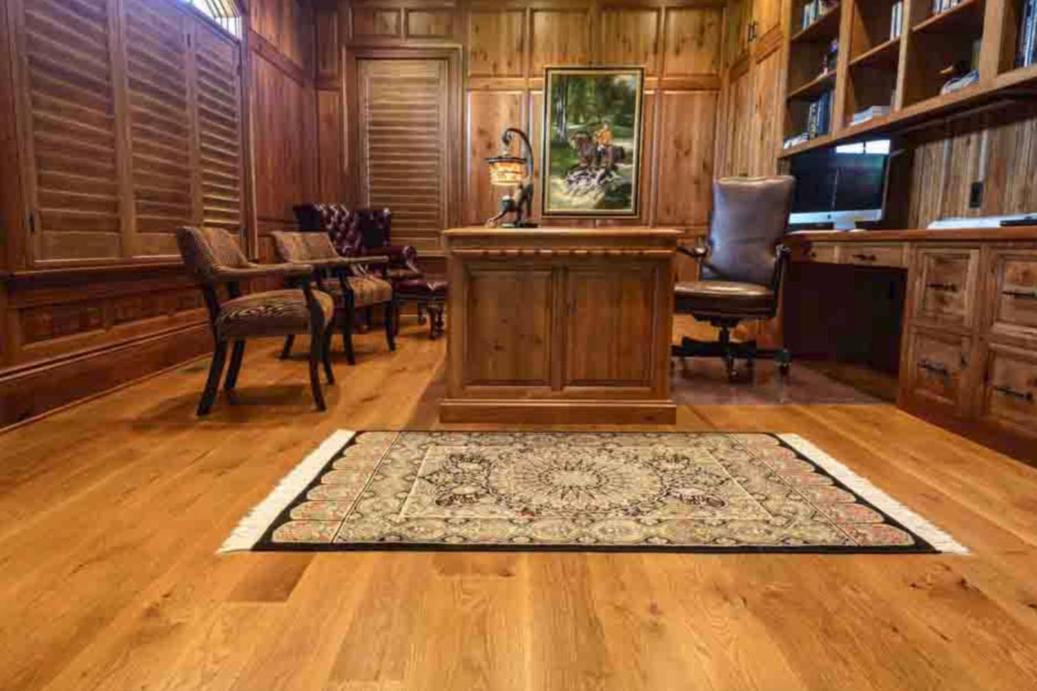 An office with beautiful white oak flooring