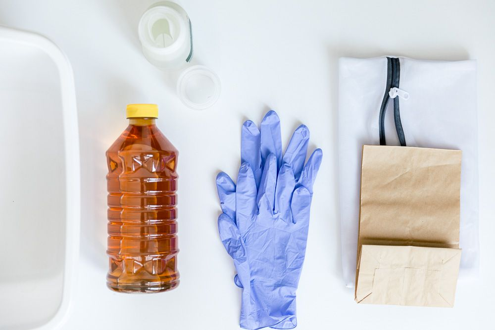 items for sanitizing a face mask