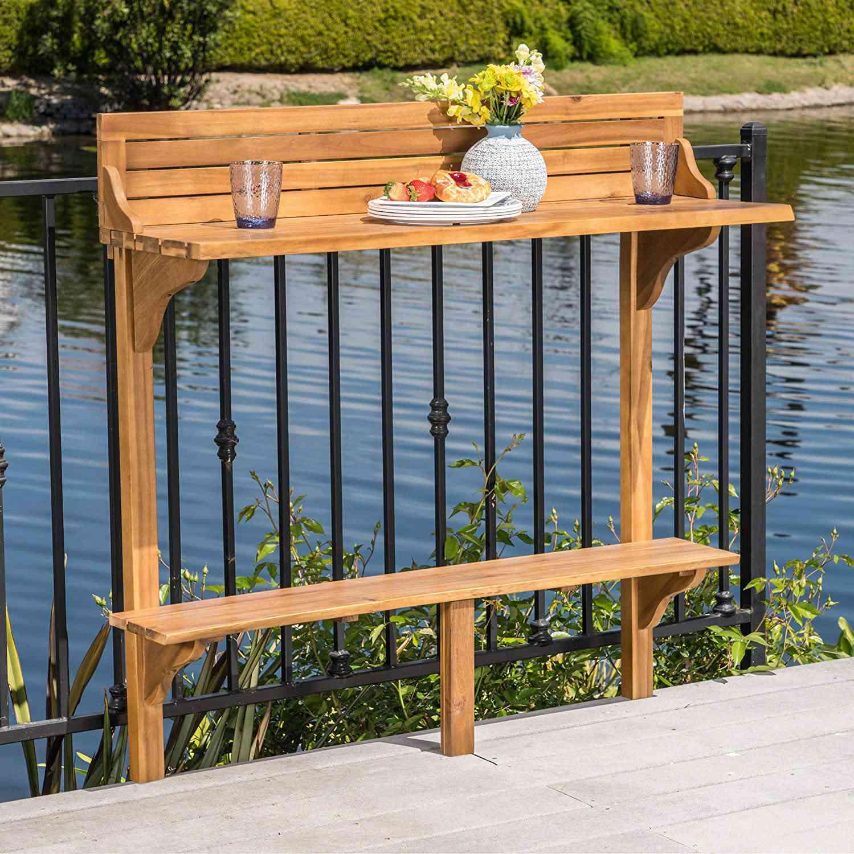 Christopher Knight Home Caribbean Outdoor Acacia Wood Balcony Bar Table
