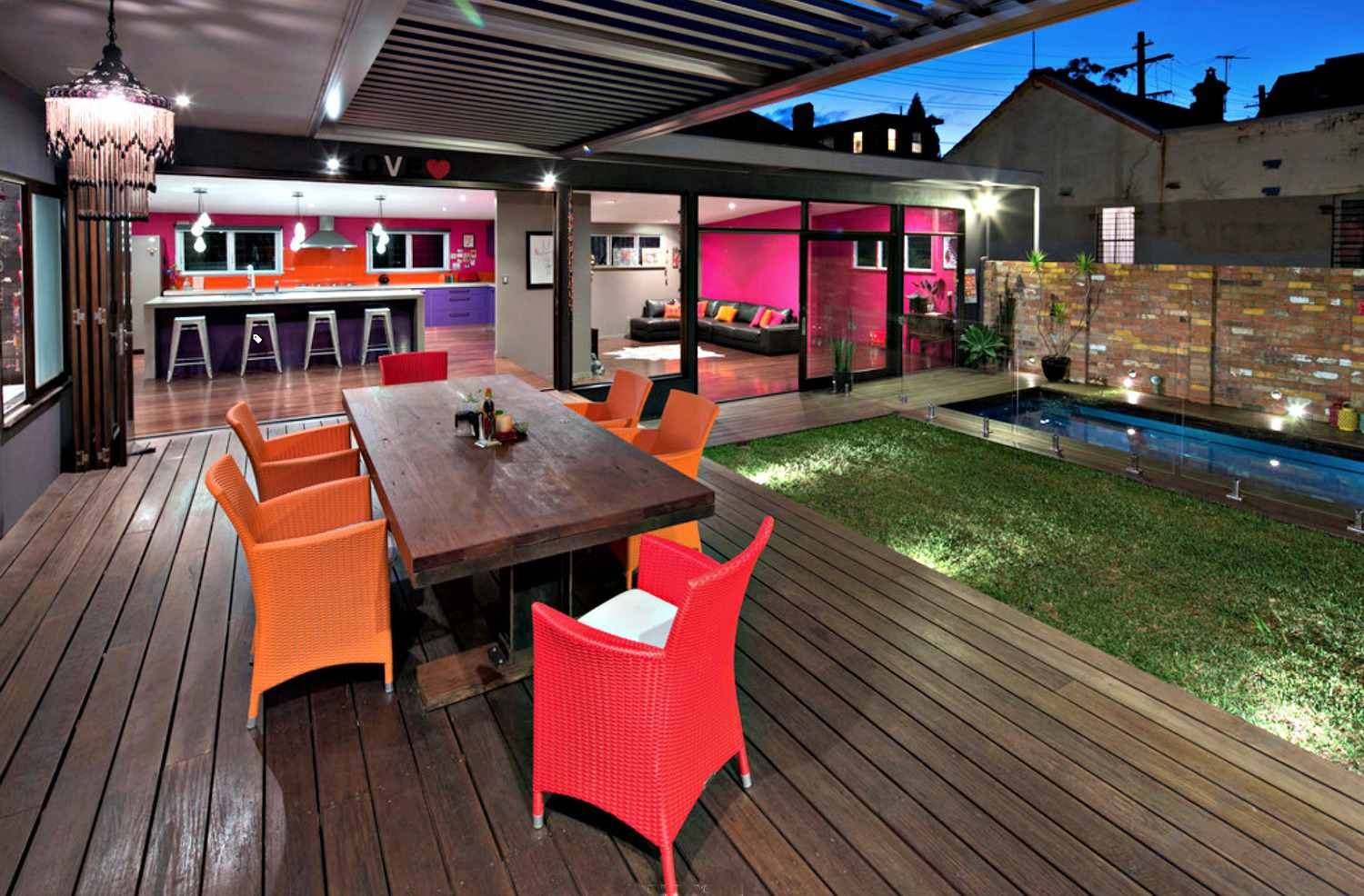 Covered deck design with pops of color