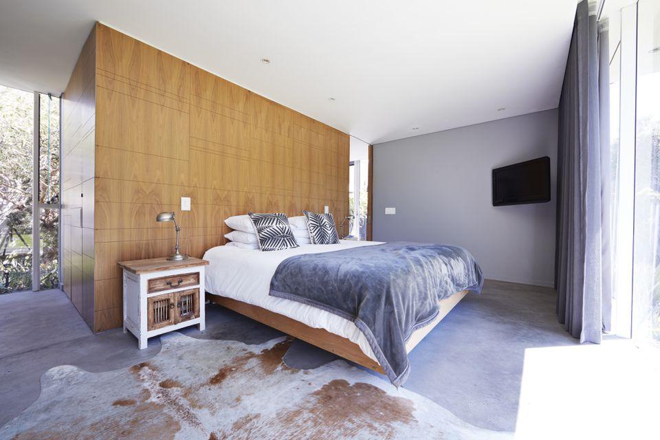 Interior still life image of bedroom in designed villa