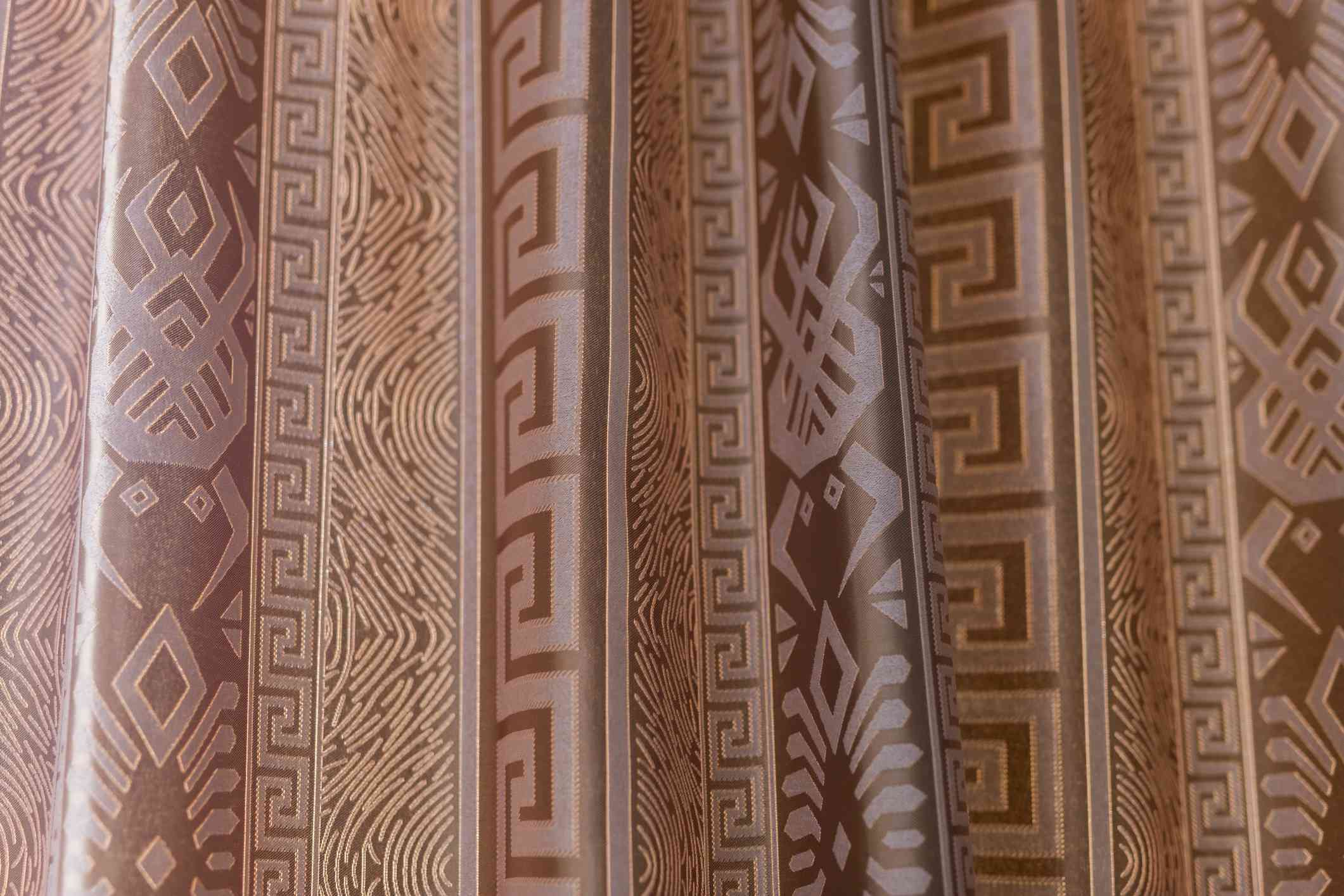 Greek key print on curtains