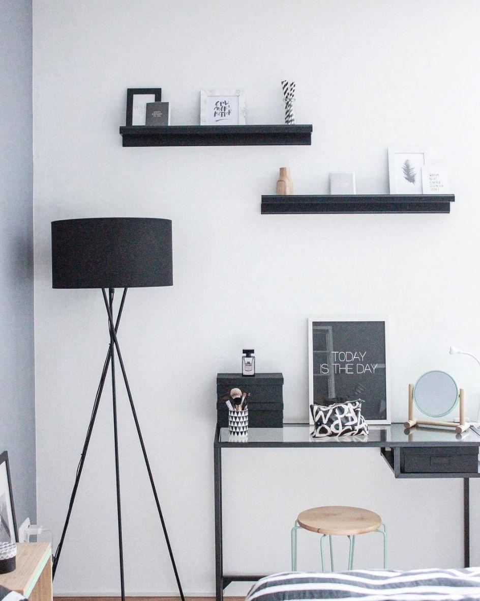 Black and white desk area