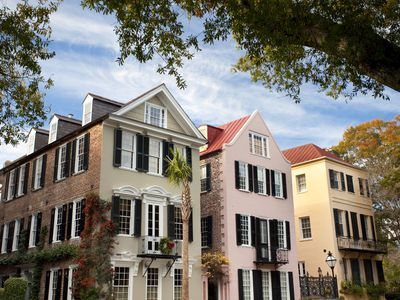 A row of Charleston single houses.