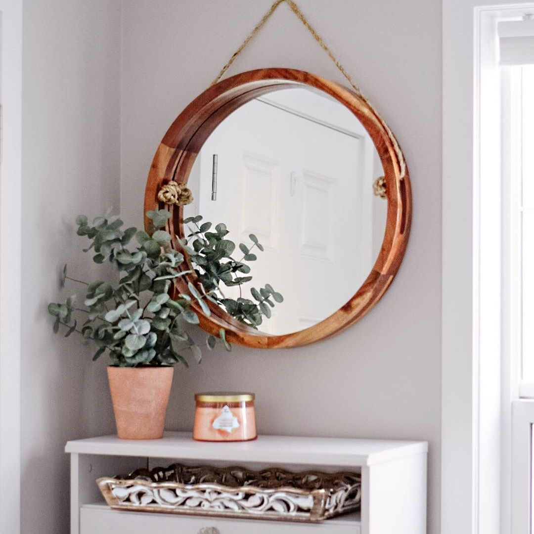 Entryway with a pink candle
