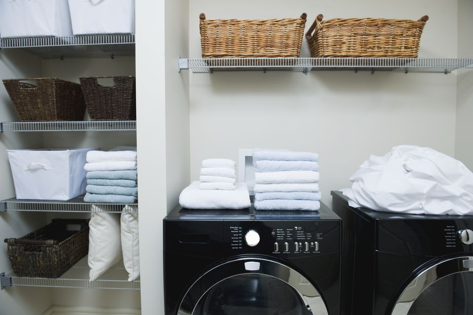 Wire Shelving in Laundry Room