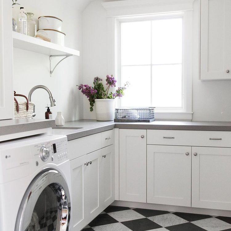 Checkerboard floor laundry room