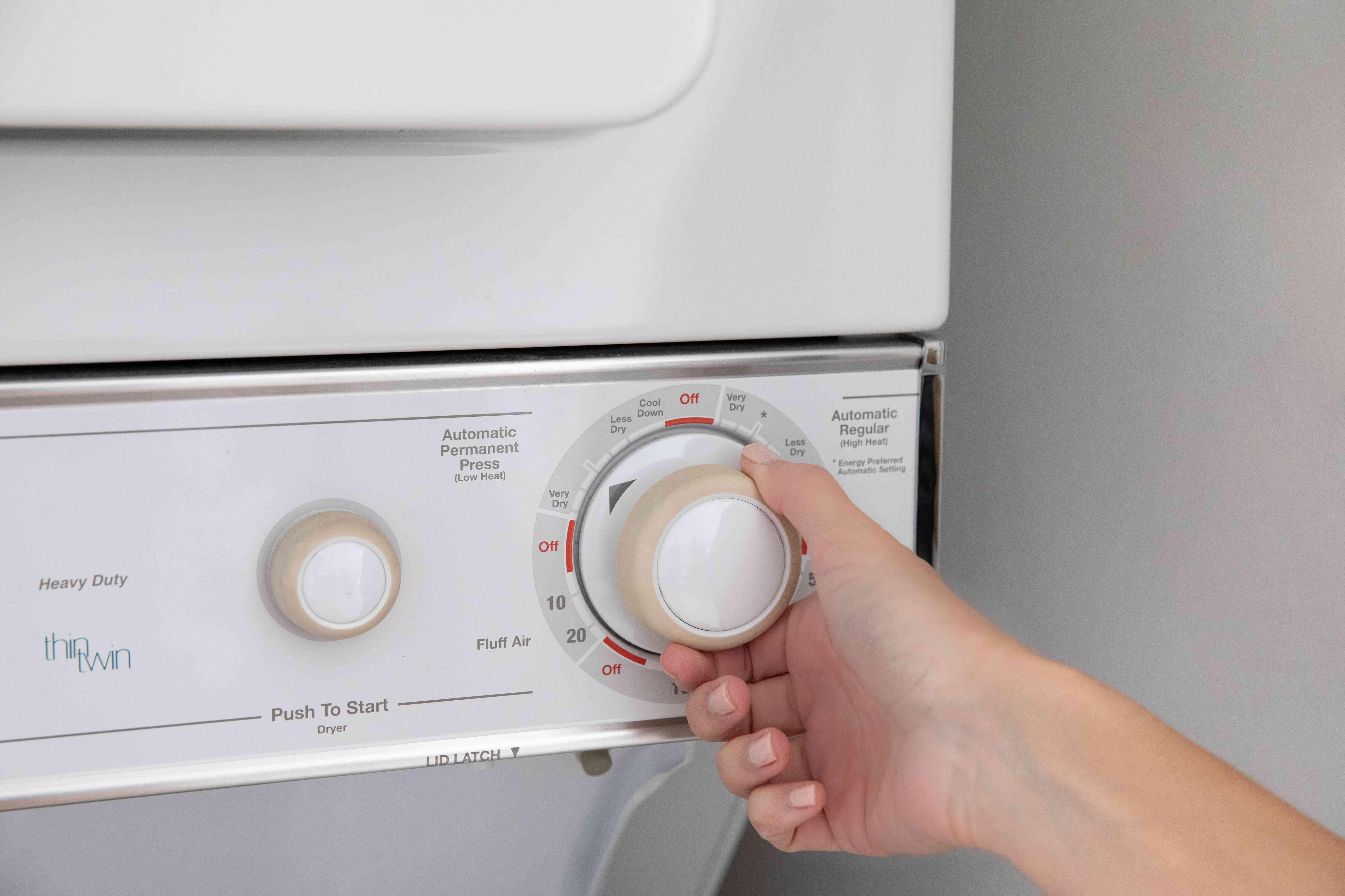 Drying machine set to tumble dry low