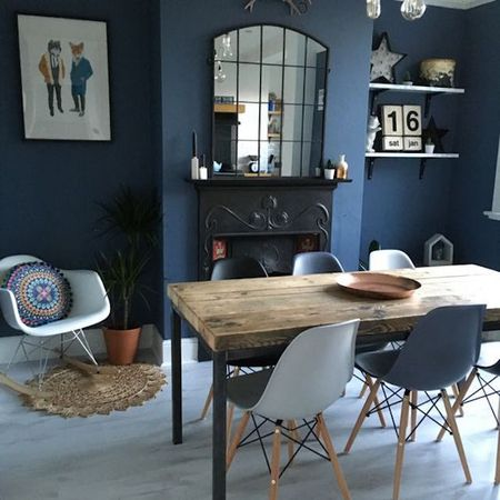 Dining Room With Light Blue Painted Floors And Dark Walls