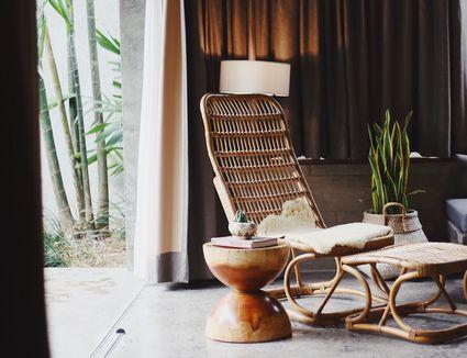 Rattan cane furniture in room