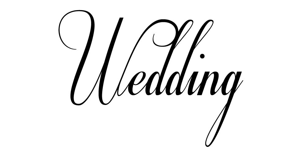 La palabra Boda en la fuente de boda gratuita Respectiva