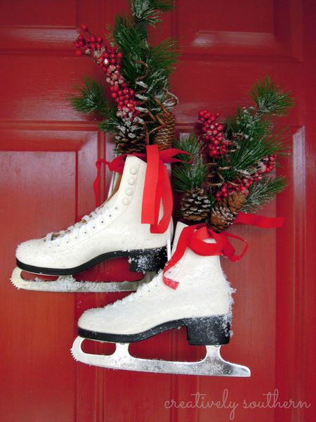 ice skate door decor - Beautiful Christmas Door Decorations