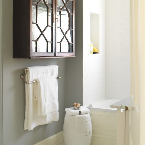 Gray, white and wood bathroom
