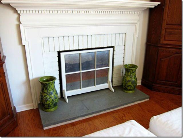 marco de ventana de pantalla de chimenea