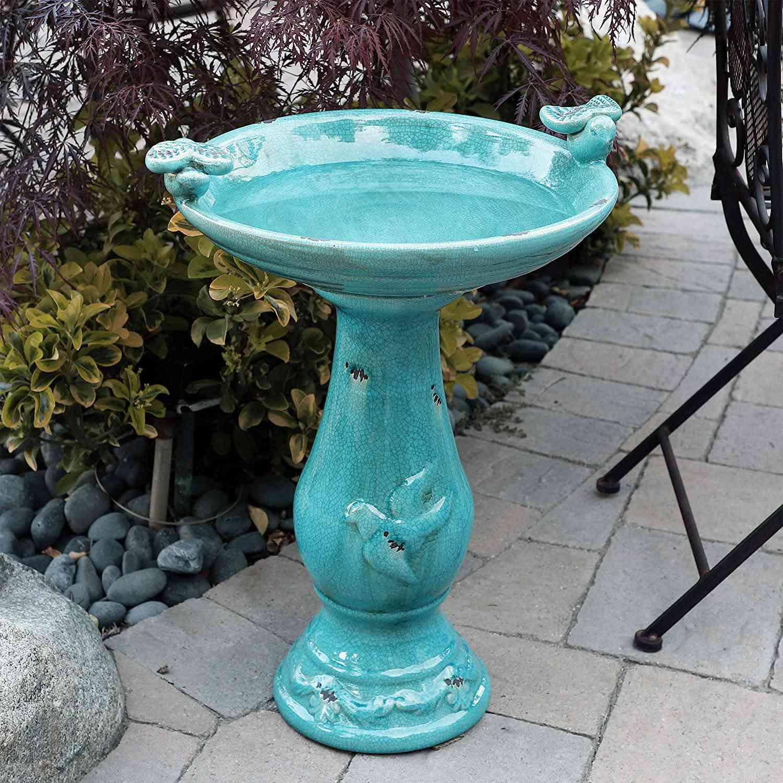 Alpine Corporation Ceramic Pedestal Bird Bath