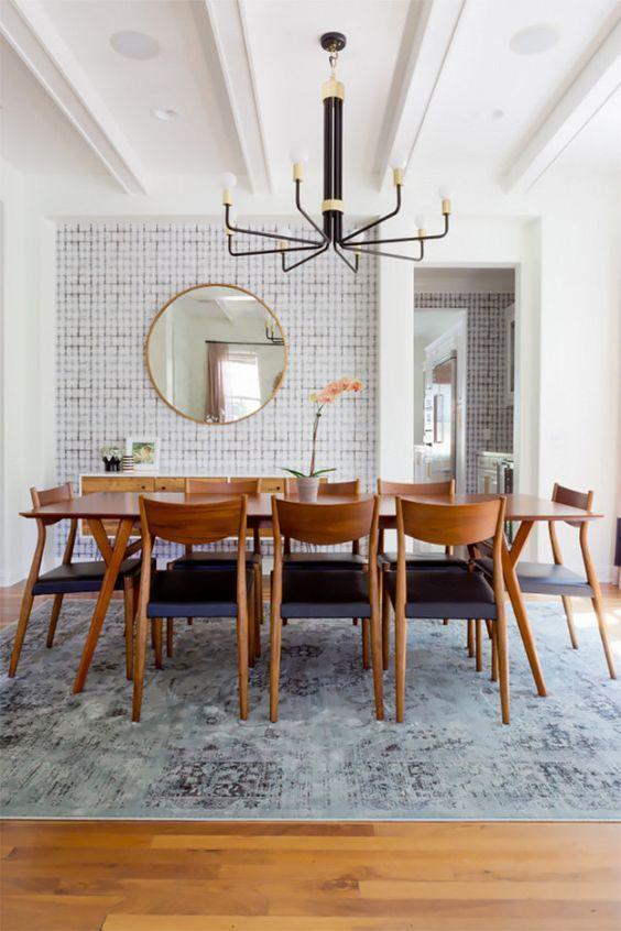 A mid-century modern dining room