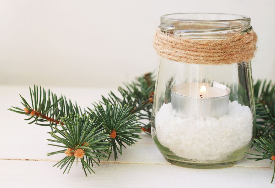 Winter time home candle natural decor
