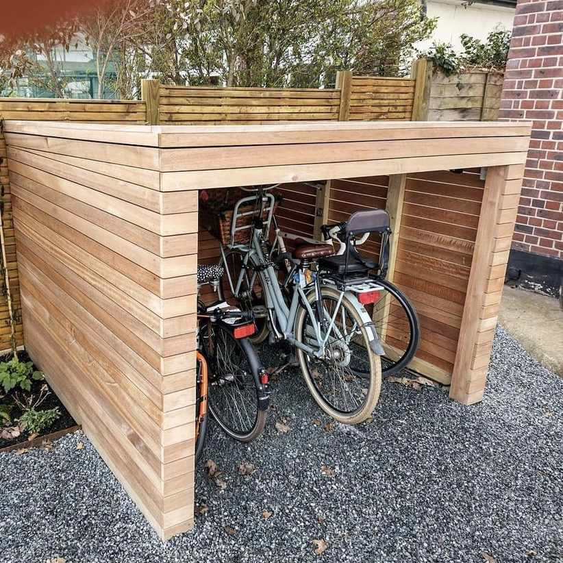 wooden shed with open side for bikes