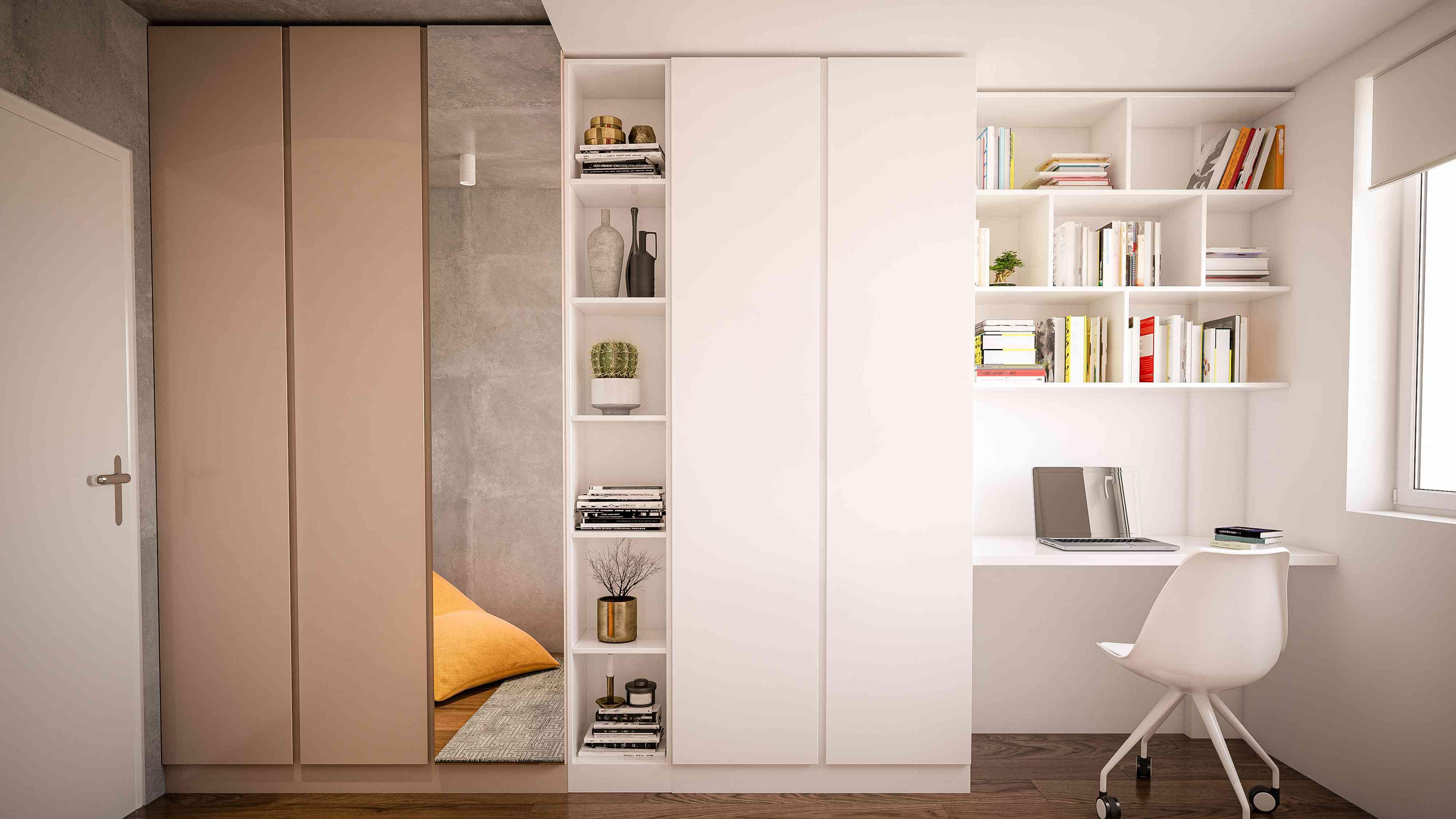 Corner bedroom office next to a closet