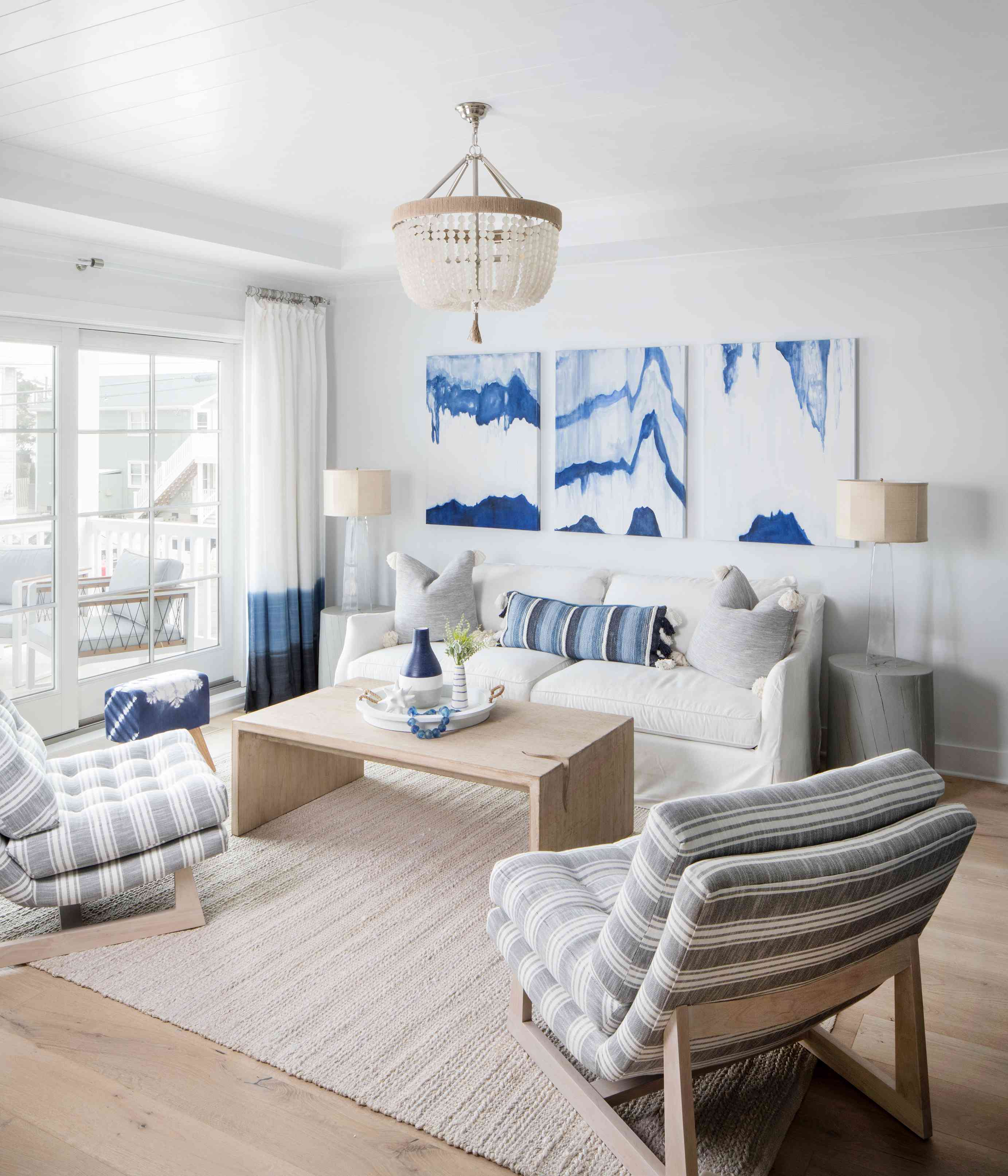 White oak floors are featured throughout the Long Beach Island home of Karen B. Wolfe