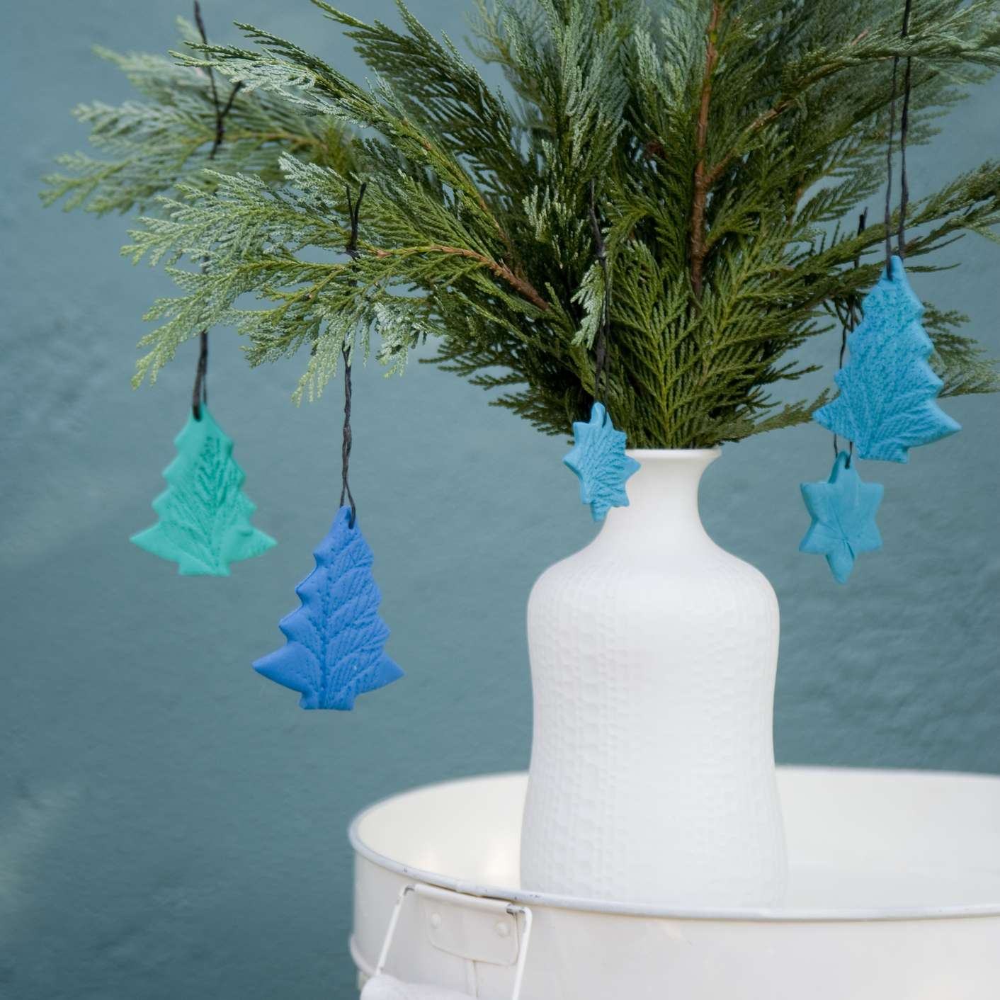 Ornaments hanging from branches