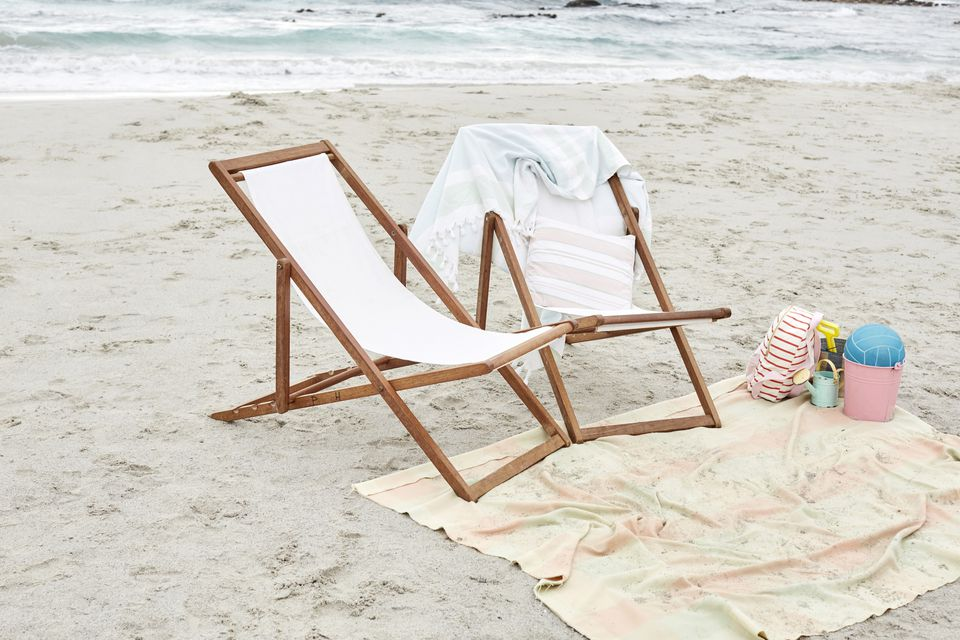 Beach chairs with beach towels