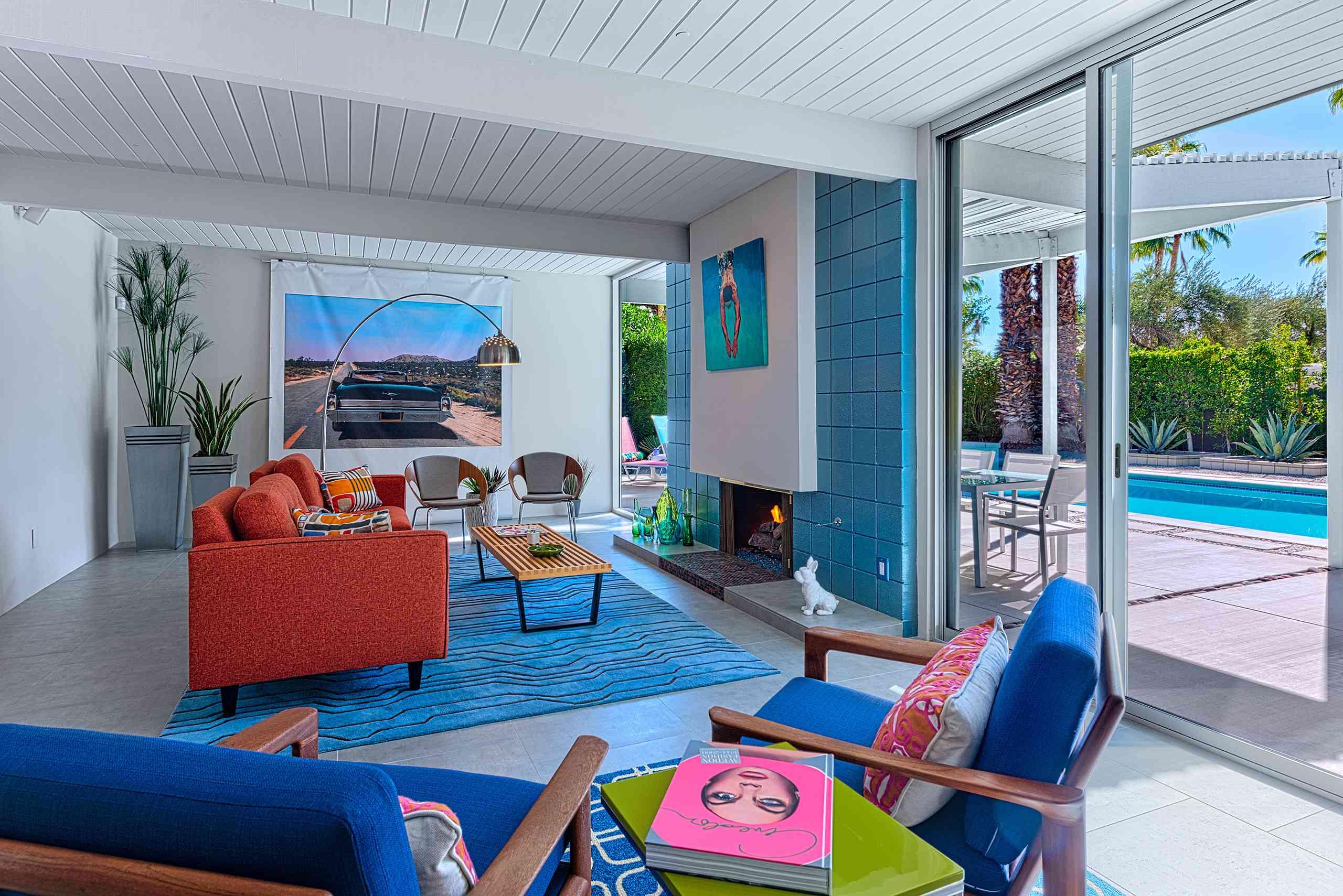 Sala de estar moderna de Palm Springs.
