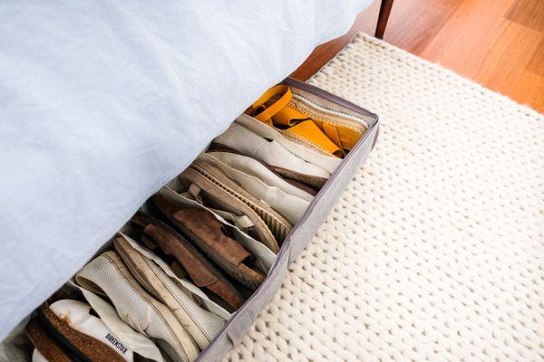 under bed storage in a bedroom
