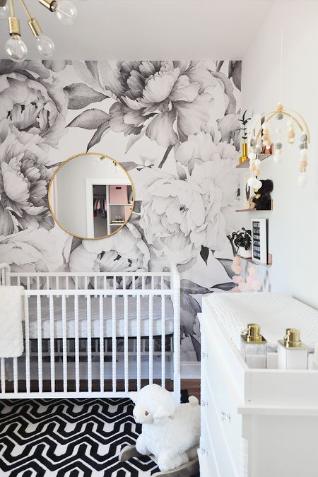 Modern Black White And Gold Nursery With Graphic Fl Print