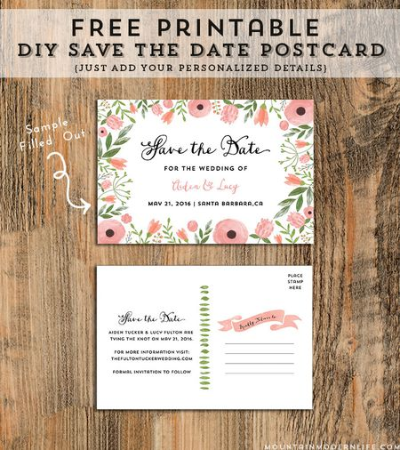 a pink and green floral save the date wedding template - Free Printable Save The Date Templates
