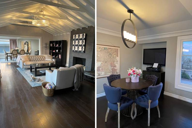 The before photos of the living room and dining area at Chrishell Stause's Hollywood Hillsl home