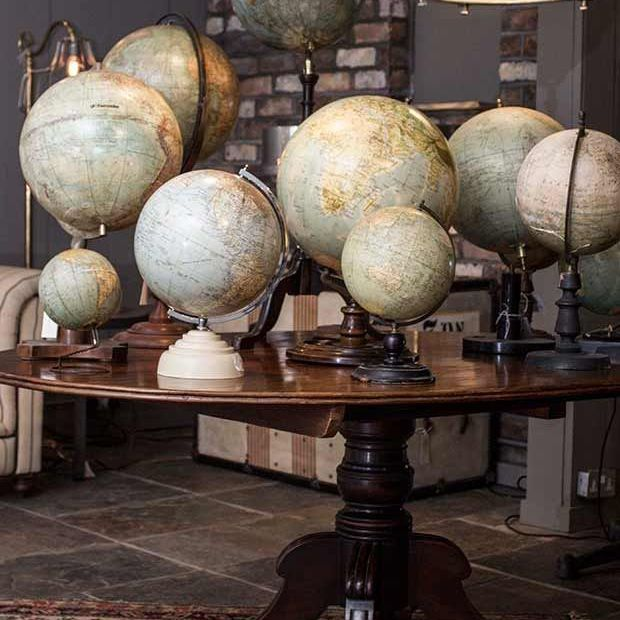 Globes on table