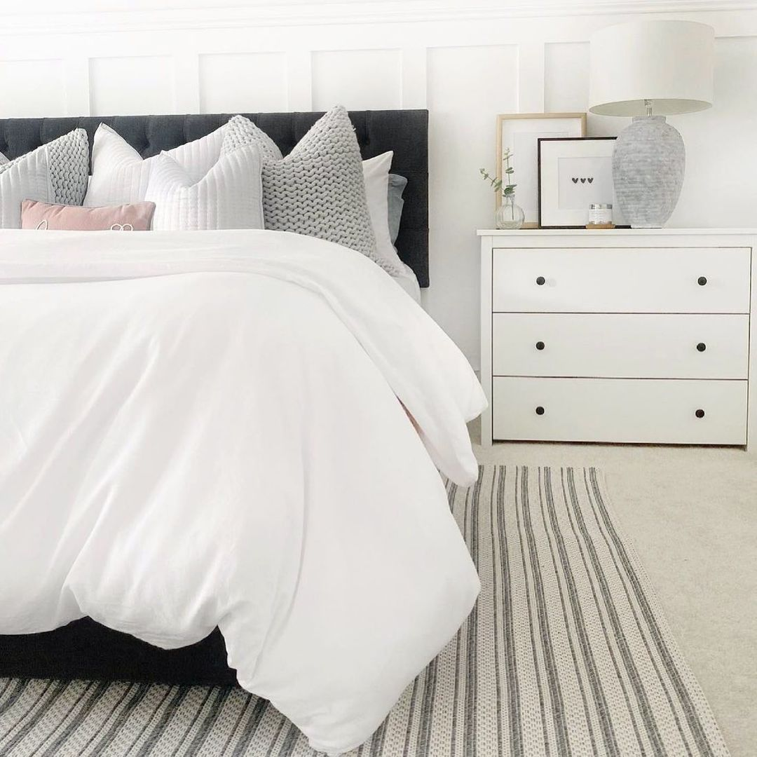 white and striped room
