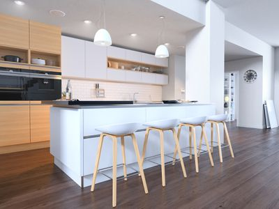 kitchen stools pulled up to a kitchen island