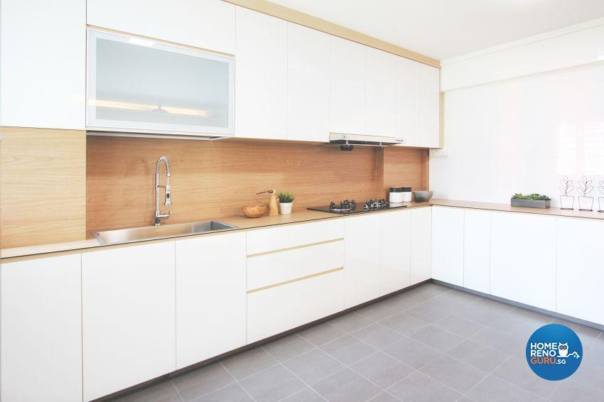 neutral kitchen with wood backsplash