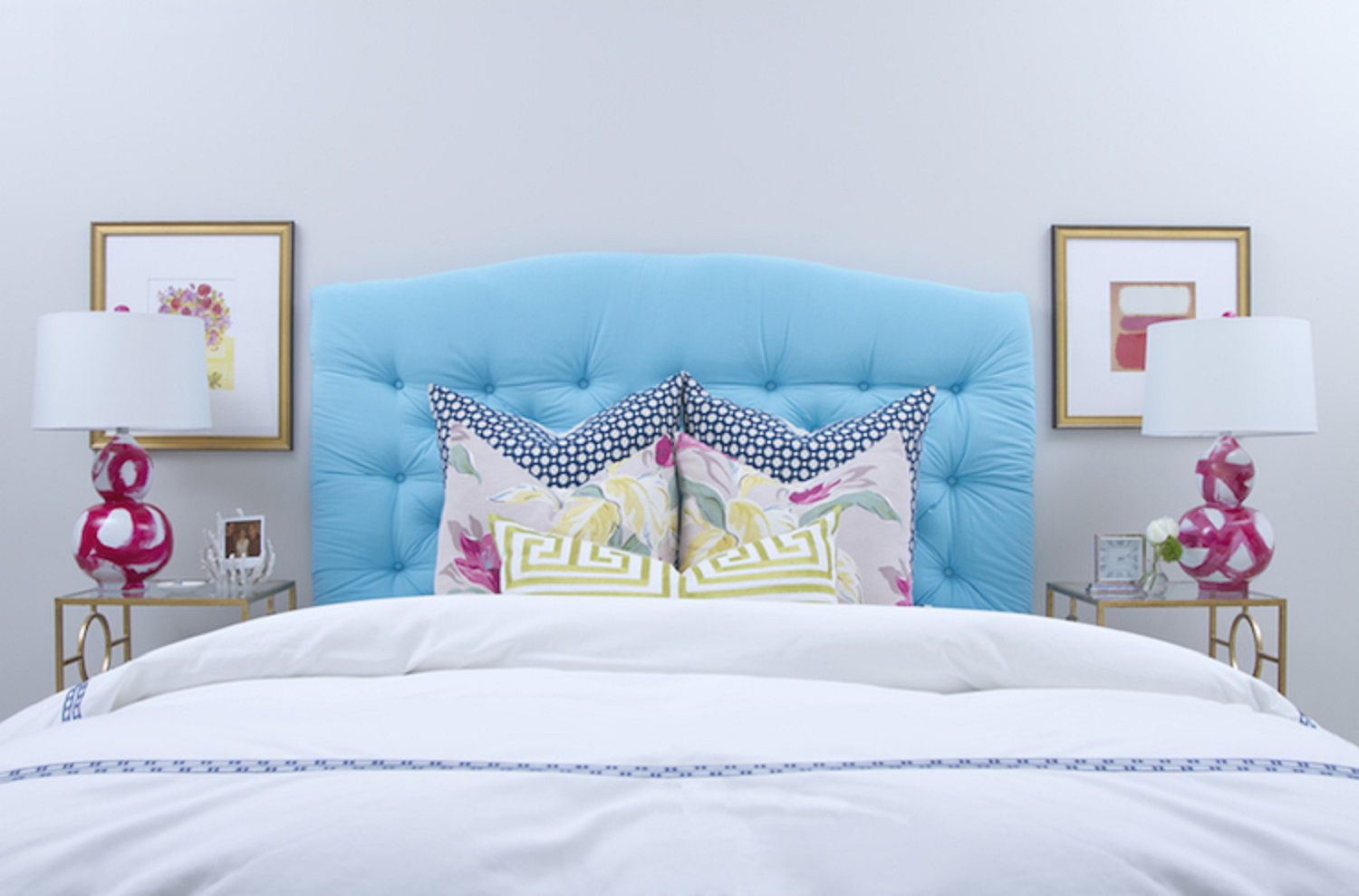 Turquoise and pink bedroom.
