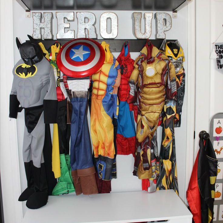Super hero costume station for boy's room
