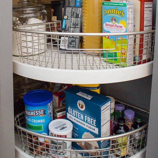 An organized lazy Susan with dry food products