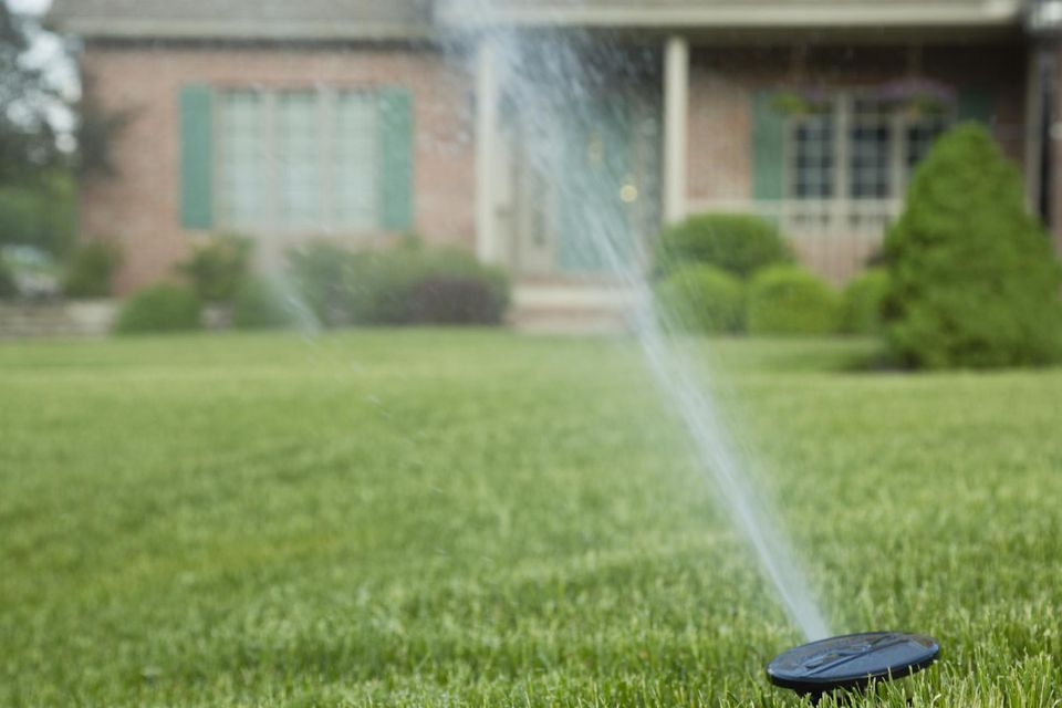Sprinkler on lawn in front of house